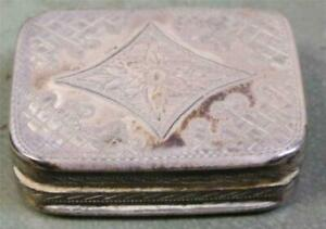 1799 Antique English Vinaigrette Perfumer Gold Washed Sterling Silver Box