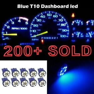 10x Blue Gauge Cluster Instrument Speedometer T10 Wedge 12v Led Dash Light Bulbs