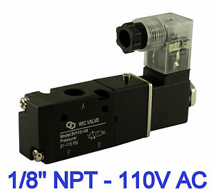 Pneumatic 3 Way Electric Directional Control Solenoid Valve 1 8 Inch 110v Ac