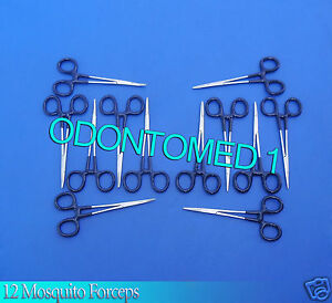 12 Mosquito Forceps Curved straight 5 Blue Dep Instruments Emt Nurse