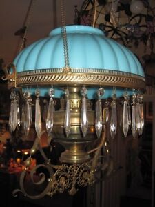 Antique Victorian Hanging Oil Kerosene Lamp Blue Shade