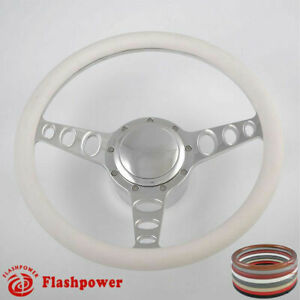 14 Billet Steering Wheels White Half Wrap Ford Fairlane Galaxie Ltd