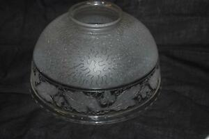 Antique 7 Etched Spaghetti Real Crystal Lamp Shade Grape Cable Ice Chip