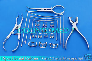 18 Pcs Dental Rubber Dam Clamp Forceps Set Ainsworth Rubber Dam Punch Dn 532