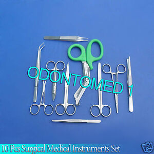 10 Pcs Surgical Medical Instruments Stainless Steel Excellent
