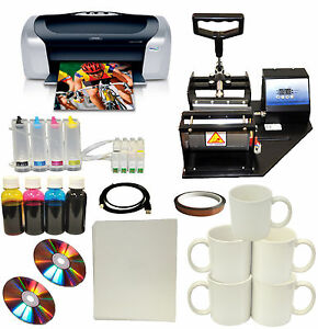 New Mug Cup Heat Press Epson C88 printer Sublimation Ciss Ink transfer Paper Kit