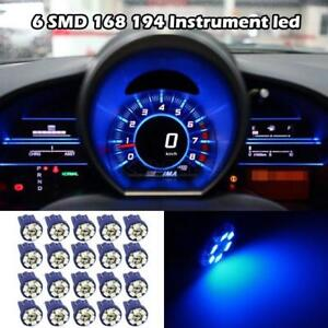 20x T10 194 W5w Blue Led Car Motorcycle Dome Instrument Dash Lights Bulbs Lamps