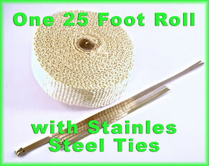 Exhaust Heat Header Wrap Stainless Ties 1 8 X 2 X 25 Ft Tan High Temperature