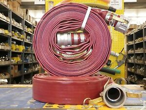 2 X 50 Red Pvc Discharge Hose Assembly W male Female Camlock Fittings