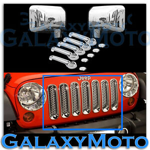 Chrome Front Grille mirror 4 Door Handle tailgate Cover For 07 17 Jeep Wrangler