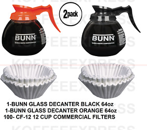 Bunn Coffee Pots 1 Reg 1 Decaf 12 Cup 64oz Commercial 100 Free Cf12 Filters