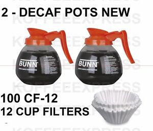 Bunn Coffee Pots 2 Decaf 12 Cup 64oz Glass 42401 0103 100 Free Cf12 Filters