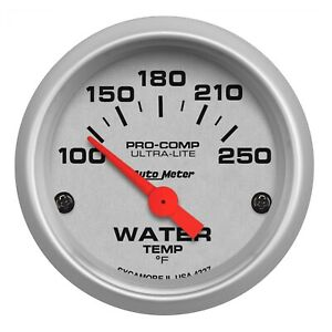 Auto Meter 4337 Ultra Lite 2 1 16 Electric Water Temp Gauge 100 250 Deg F