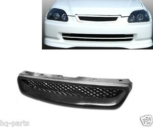 99 00 1999 2000 Honda Civic Front Hood Mesh Grille Black Abs Type R Style
