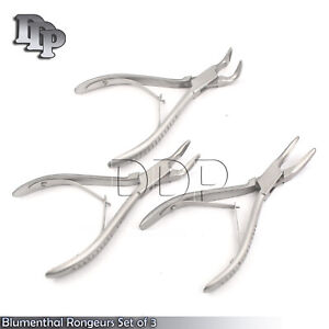 Set Of 3 Blumenthal Bone Rongeurs 30 45 90 Degree 6 Surgical Instruments