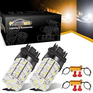 2x 3157 60smd Dual Color Switchback White Amber Turn Signal Led Light Bulbs 3057