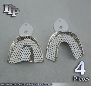 4 Set Dental Impression Trays Perforated 2 Pcs M Size Surgical Ddp Instruments