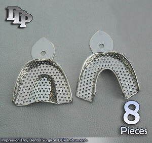 8 Set Dental Impression Trays Perforated 2 Pcs L Size Surgical Ddp Instruments