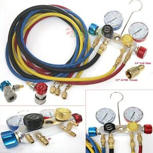 4 Way Ac Manifold Gauge Set R410a R22 R134a W hoses Coupler Adapters 1 2 Acme