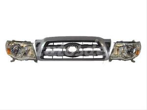 For Toyota 2005 2011 Tacoma Prerunner Grille W gray Frame Headlight W bulb 3pc