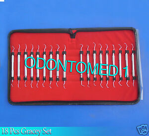 Set Of 18 Pcs Gracey Curettes French Steel Surgical Dental Instruments