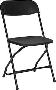 Lot Of 200 Black Steel Frame Folding Chairs With 800 Lb Capacity