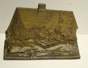 Antique Victorian Cast Iron Cottage House Doorstop Bookends Circa 19th