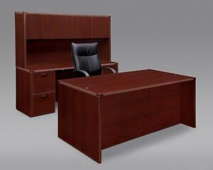 Amber 71 Executive Office Desk With File file Kneespace Credenza And Hutch