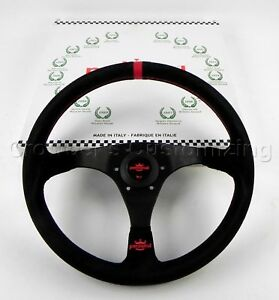 Personal 350mm Trophy Steering Wheel Black Suede Leather With Red Accents