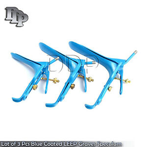 Lot Of 3 Pcs Blue Coated Leep Graves Speculum Small medium large Instruments