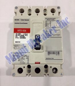 Hfd3200l Cutler Hammer Circuit Breaker 3 Pole 200 Amp 600v new In Box