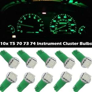 10x Green T5 74 37 73 5050 Smd Instrument Speedo Dash Led Light For Chevy