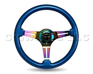 Nrg Neochrome Steering Wheel Blue Colored Wood 350mm Part St 015mc Bl