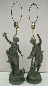 Antique Art Nouveau Figural Metal Lamps By Ch Levy Circa 1930