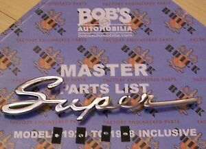 Buick New Super Script Chrome Side Emblem 1948 49 50
