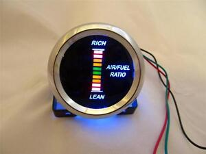 Air Fuel Ratio Gauge 2 Blue Led Digital Chrome Bezel W Red Yellow Green Digits