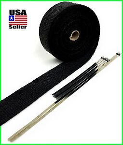 Black Exhaust Header Wrap Pipe Heat Tape 2 X 25 Feet Stainless Steel Ties Kit