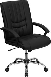 Lot Of 10 Black Leather Mid Back Conference Room Table Or Office Desk Chairs New