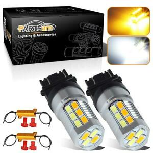 2pc 4157 3157 Switchback Amber White 5730 Led Turn Signal Lights W Load Resistor