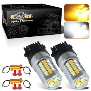 2x3157 3757 Switchback Amber White High Power Led Turn Signal Light W Resistors