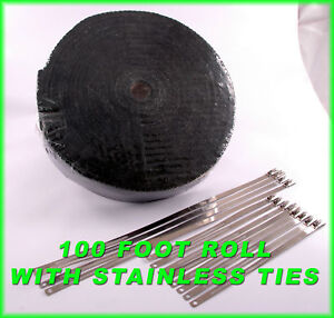 Black Exhaust Wrap Pipe Heat Tape 2 Inch X 100 Feet Stainless Locking Ties Kit