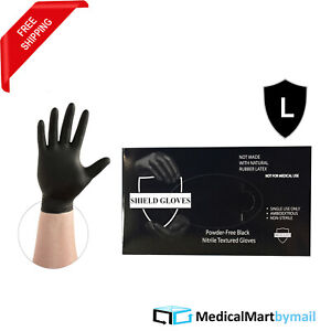 500 Industrial Disposable Powder Latex Free Black Nitrile Gloves 3 5 Mil Large