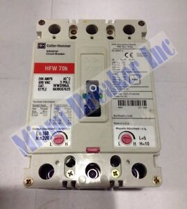 Hfw3200jl Cutler Hammer Circuit Breaker 3 Pole 200 Amp 690v new In Box
