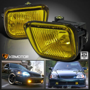 For 1996 1998 Honda Civic Yellow Bumper Fog Lights W Switch