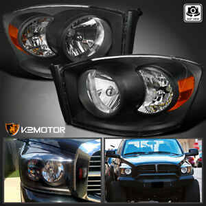 2006 2008 Dodge Ram 1500 2500 3500 Diamond Black Headlights Left right