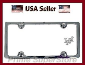 Solid Plain Chrome Plated Finish License Plate Frame For Car Truck Plastic Cover