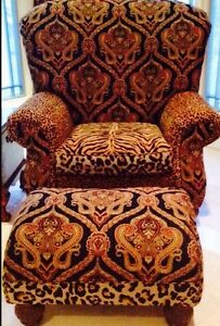 Huge Designer Club Chair Ottoman Silk Chenille Velvet Karastan Fabric Mint