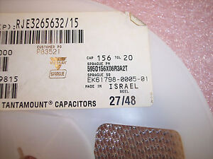 Qty 2000 15uf 6 3v 20 A Case Smd Tantalum Capacitors 595d156x06r3a2t Sprague