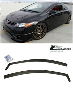 For 06 11 Honda Civic Coupe In Channel Side Window Visors Guards Si Oe 2dr Jdm