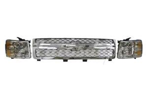 For 2011 2013 Chevy Silverado 2500hd 3500 Grille Gray W Chr Frame Headlight 3pcs